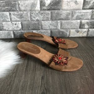 A. Marinelli Waldo all leather beaded sandal red